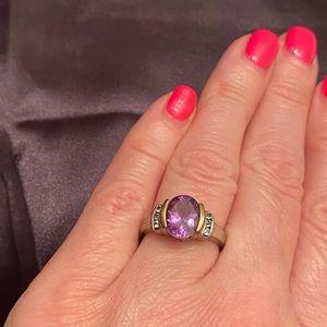 925 14K Amethyst and Diamond Ring, sz 6 3/4